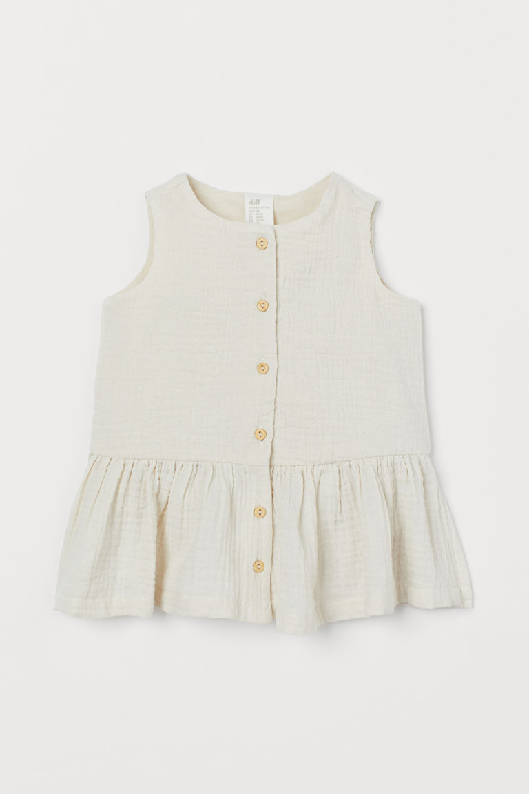 Double-weave cotton dress - Natural white - Kids | H&M