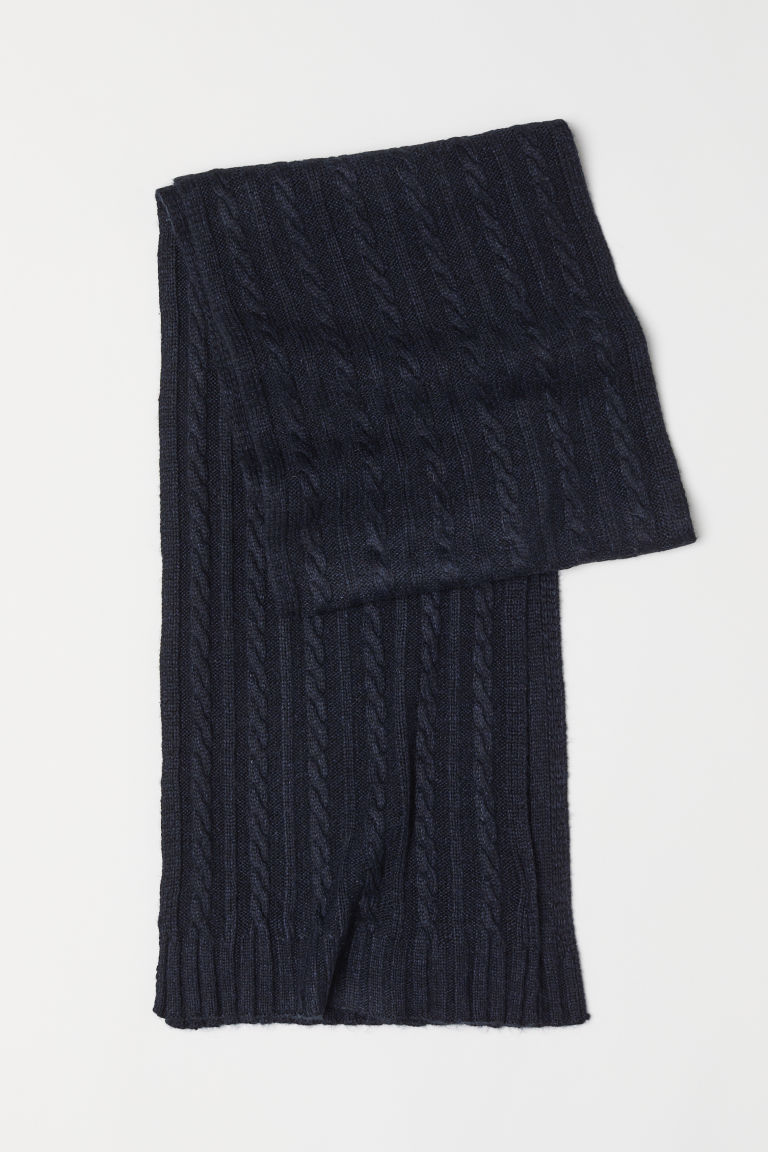 Cable-knit scarf - Dark blue marl - Men | H&M CN