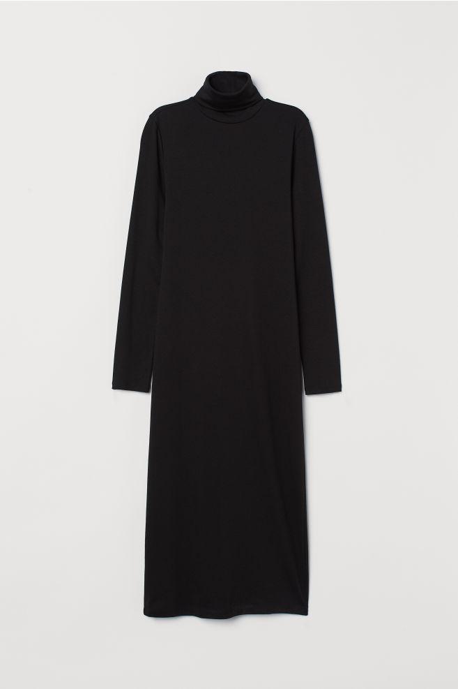 f44bd5dbf74 ... Robe col roulé en jersey - Noir - FEMME