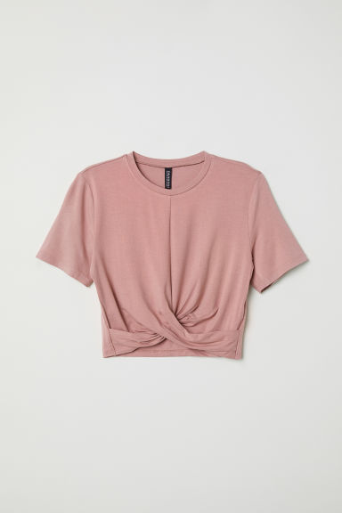 Tricot top met geknoopt detail - Oudroze - DAMES | H&M BE