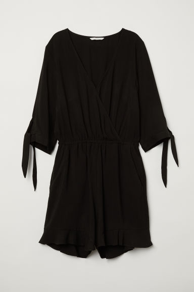 Wrapover playsuit - Black - Ladies | H&M