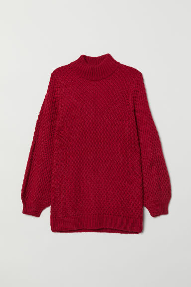 Textured-knit polo-neck jumper - Red -  | H&M CN