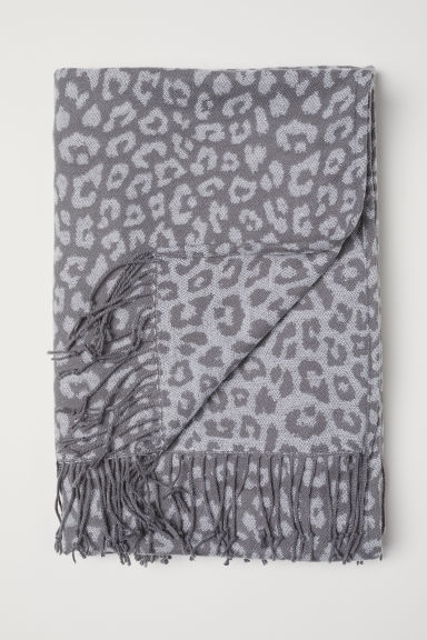 Jacquard-weave blanket - Grey/Leopard print - Home All | H&M CN