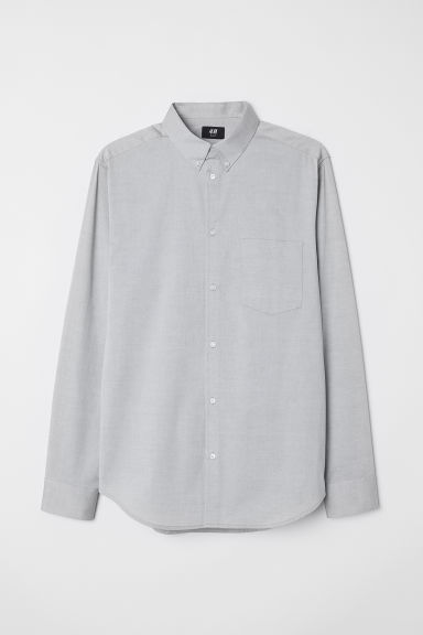 Cotton shirt Slim fit - Grey - Men | H&M