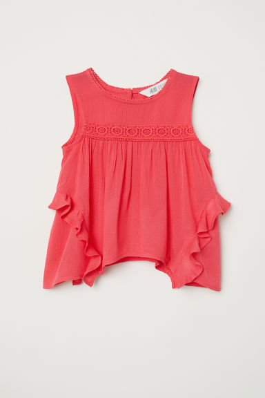 Crinkled blouse - Raspberry pink -  | H&M