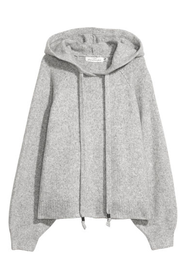 Knitted hooded jumper - Light grey marl -  | H&M