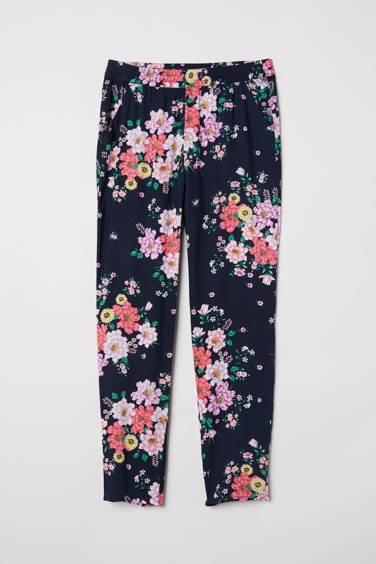 Elasticated viscose trousers - Dark blue/Floral - Ladies | H&M