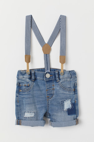 Denim Shorts with Suspenders