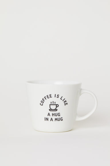 Tasse en porcelaine avec motif - Blanc/Coffee - Home All | H&M CA