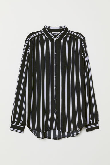Long-sleeved blouse - Black/White striped - Ladies | H&M