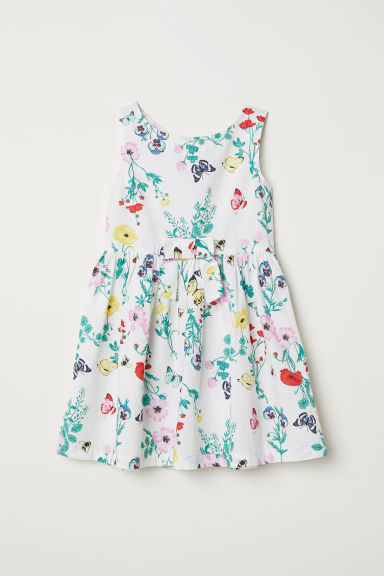Patterned cotton dress - White/Floral - Kids | H&M CN