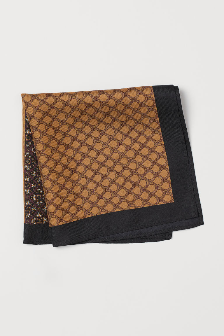 Patterned silk handkerchief - Dark red/Block-patterned - Men | H&M