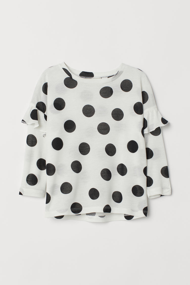 Top with flounces - White/Black spotted - Kids | H&M CN