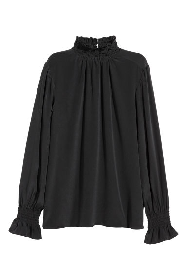 Silk blouse with smocking - Black - Ladies | H&M IE