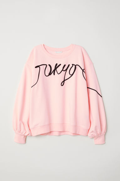 Sweatshirt with decorations - Light pink - Ladies | H&M GB