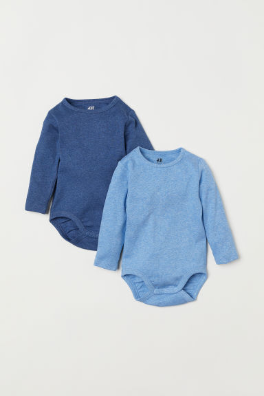 2-pack long-sleeved bodysuits - Blue marl - Kids | H&M CN