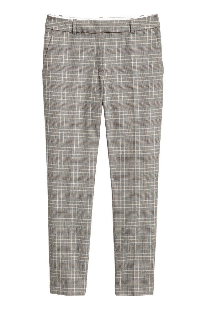 68df0d6cf1b8bd Cigarette trousers - Grey beige/Checked - Ladies | H&M ...