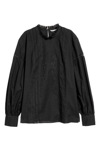 Blouse with embroidery - Black -  | H&M IE