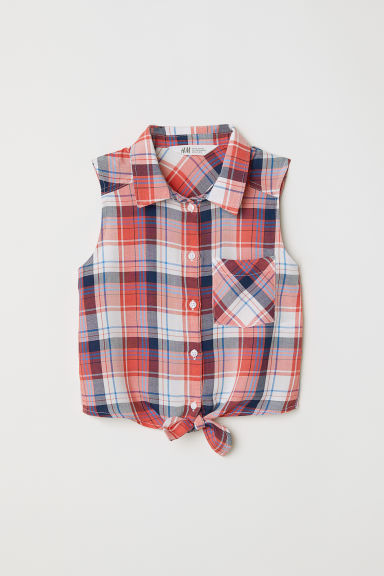 Sleeveless tie-front blouse - White/Red checked - Kids | H&M CN
