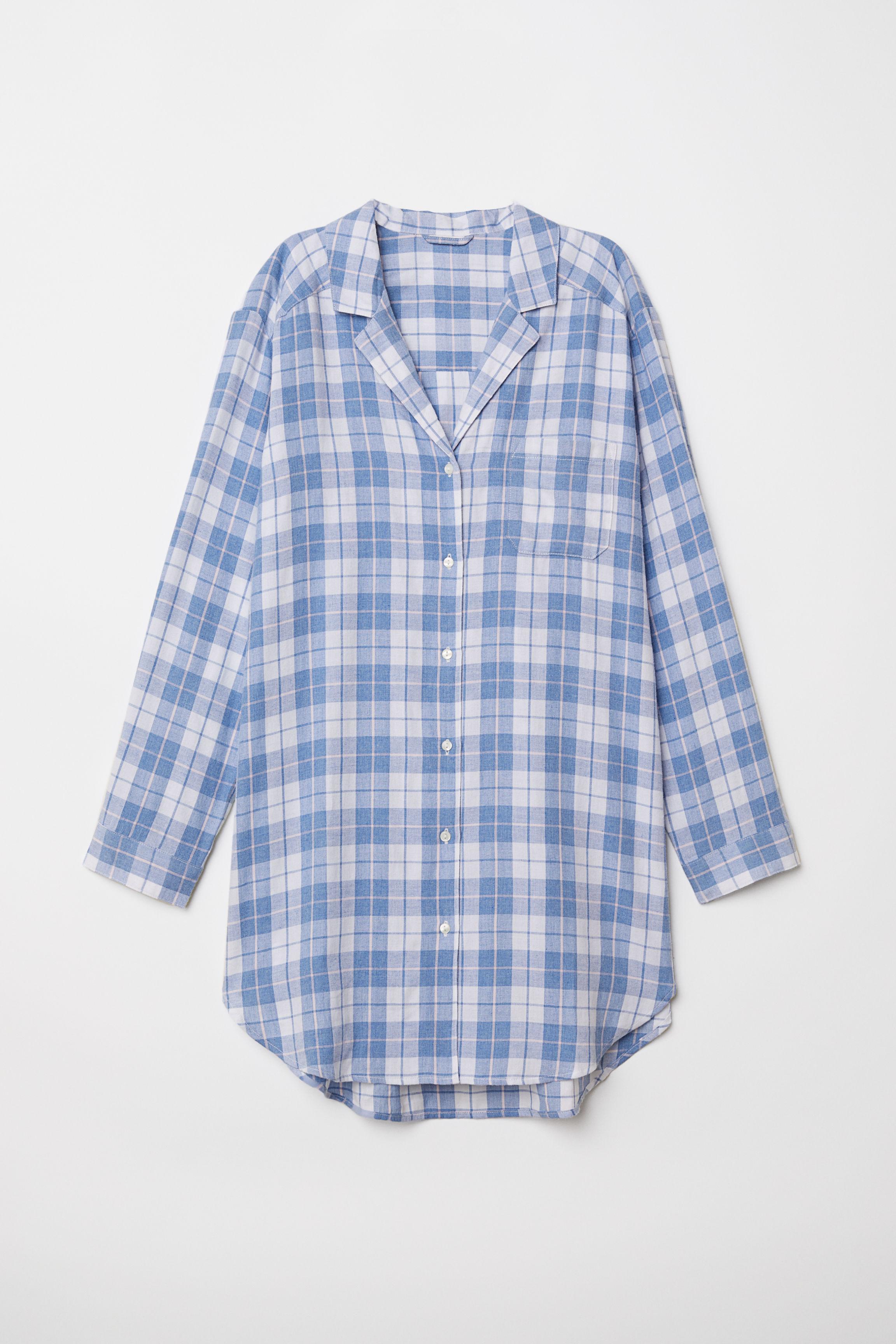 72100b8734 Flannel Nightshirt - White blue plaid - Ladies