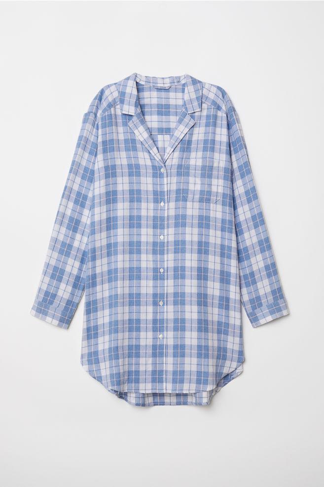 96adf4259397dc Nachthemd aus Flanell - Weiß Blau kariert - Ladies