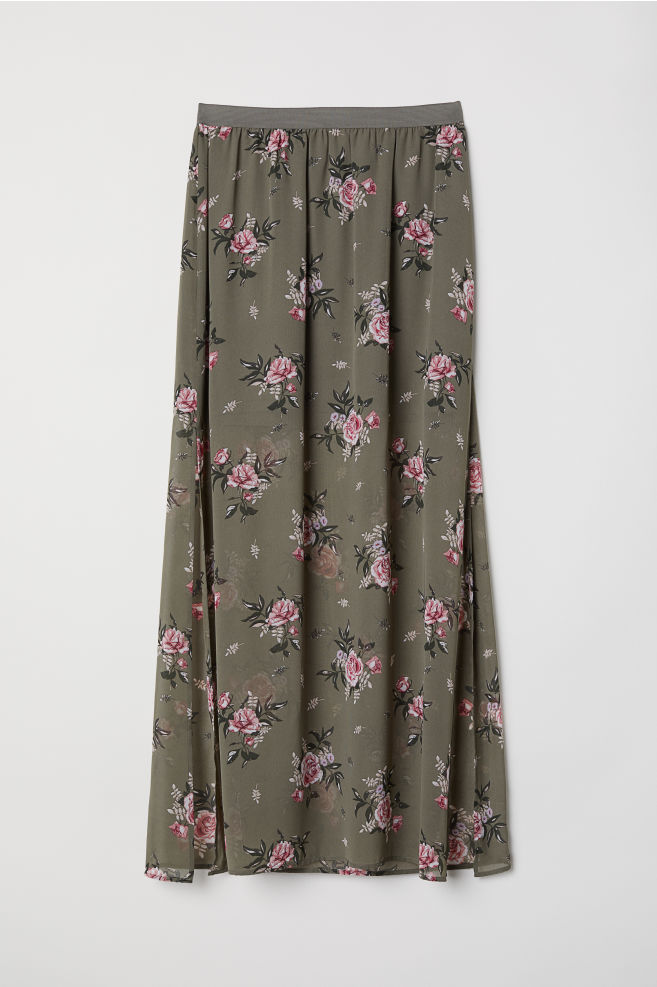 c02d745ba0 Long skirt - Khaki green/Floral - | H&M ...