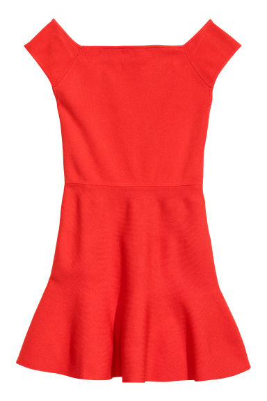 Off-the-shoulder dress - Bright red -  | H&M CN