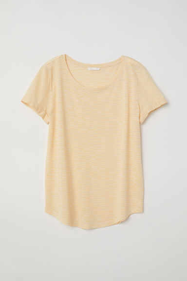Slub jersey T-shirt - Yellow/White striped - Ladies | H&M