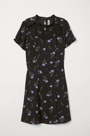 Dress with a lace yoke - Black/Floral -  | H&M