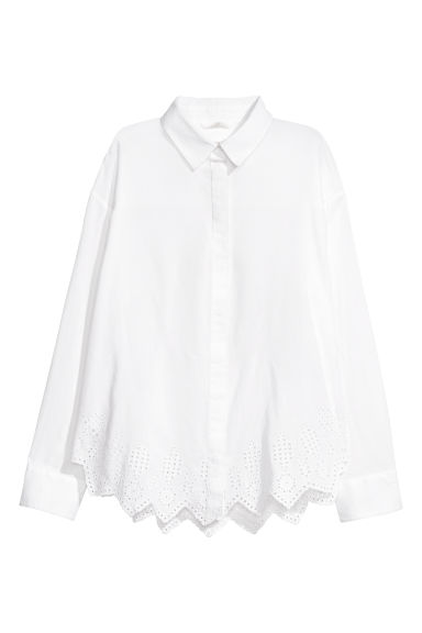 Shirt with broderie anglaise - White - Ladies | H&M GB
