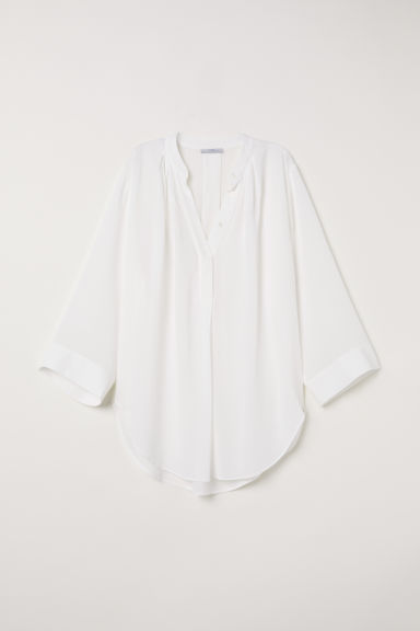 V-neck tunic - White -  | H&M CN