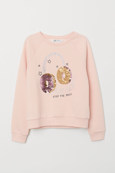 Sweatshirt with sequins - Pink/Donut Stop The Music - Kids | H&M CN
