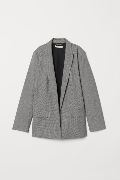 Straight-cut jacket - Black/White checked - Ladies | H&M GB