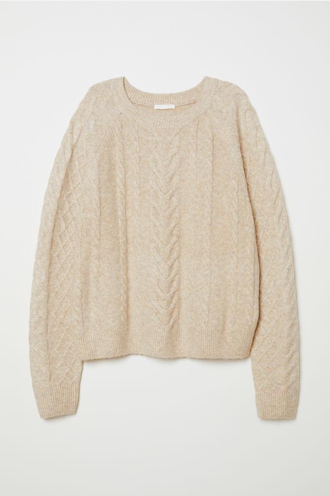 07677bb73 Cable-knit jumper - Beige marl - Ladies