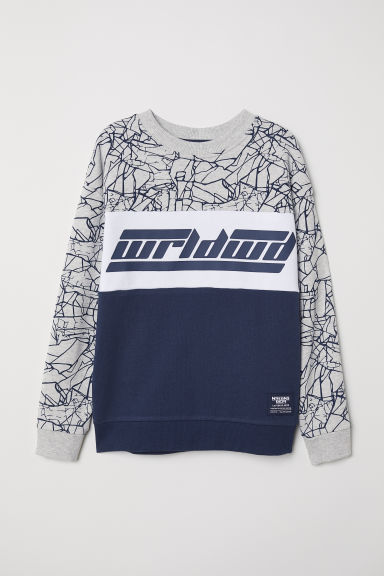 Sweatshirt with a print motif - Grey marl/Block-coloured - Kids | H&M CN