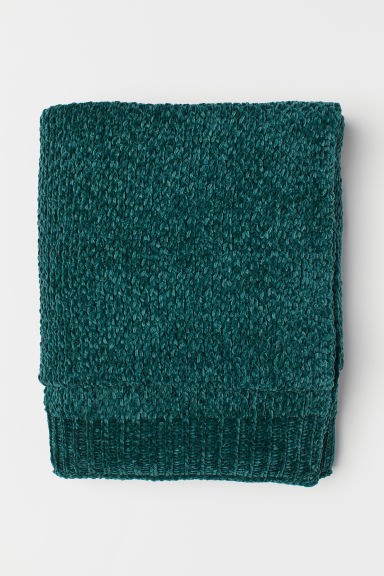 Chenille blanket - Dark green - Home All | H&M CN