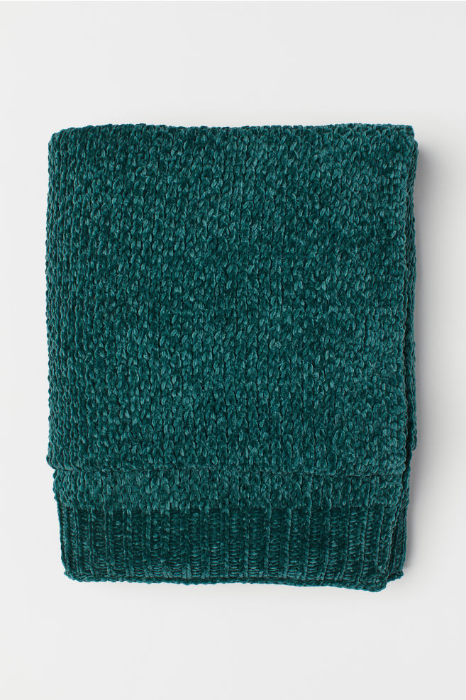 Chenille blanket - Dark green - Home All | H&M GB 1