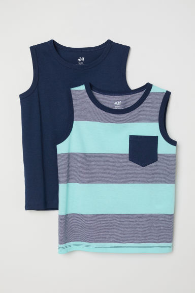 2-pack vest tops - Light turquoise/Dark blue -  | H&M