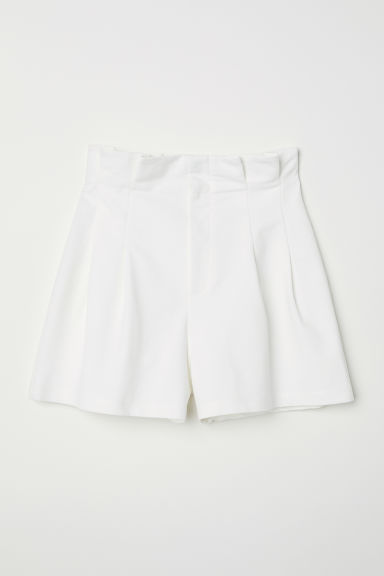 Paper bag shorts - White - Ladies | H&M
