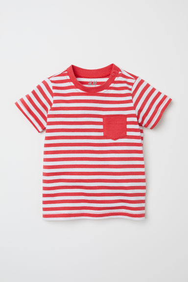 Cotton T-shirt - Red/White striped - Kids | H&M CN