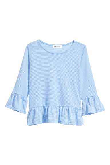 Flounced top - Light blue/White striped - Kids | H&M