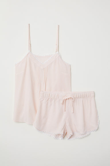 Pyjama top and shorts - Light pink/Striped - Ladies | H&M