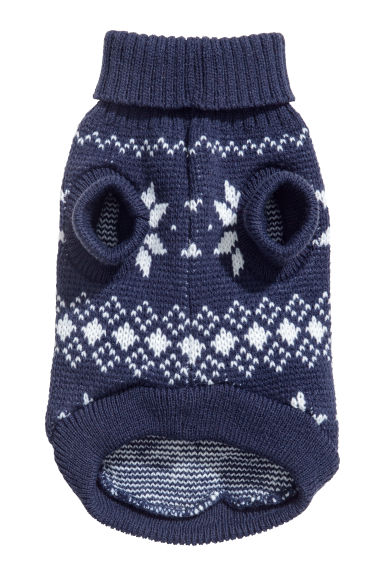 Jacquard-knit dog jumper - Dark blue/Pompoms - Ladies | H&M IE