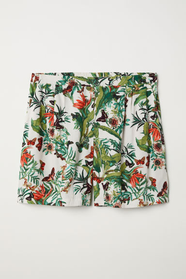 H&M+ Short met dessin - Wit/bladdessin - DAMES | H&M BE