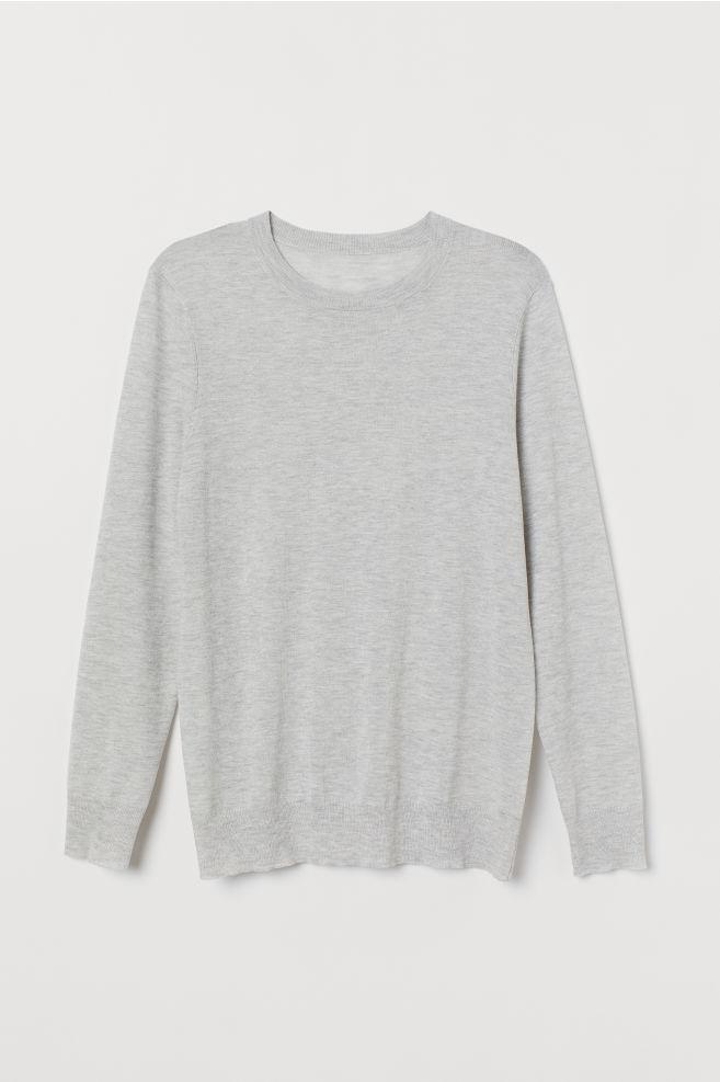 Finstickad tröja - Ljus gråmelerad - HERR  e674ad1206551