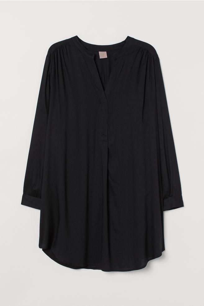 000b633cd9 H&M+ Kleid mit V-Ausschnitt - Schwarz - Ladies | H&M ...