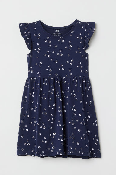 Cotton dress - Dark blue/Floral - Kids | H&M
