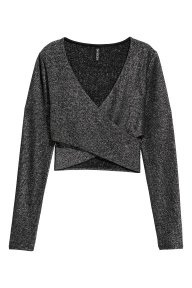 Cropped wrapover top - Black/Glitter - Ladies | H&M