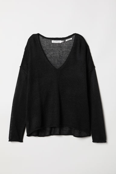 V-neck Linen-blend Sweater - Black - Ladies | H&M US