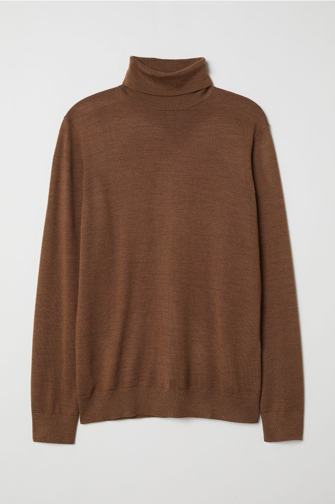 d8c691ef697e60 Merino wool-blend jumper - Light brown marl - Men | H&M ...